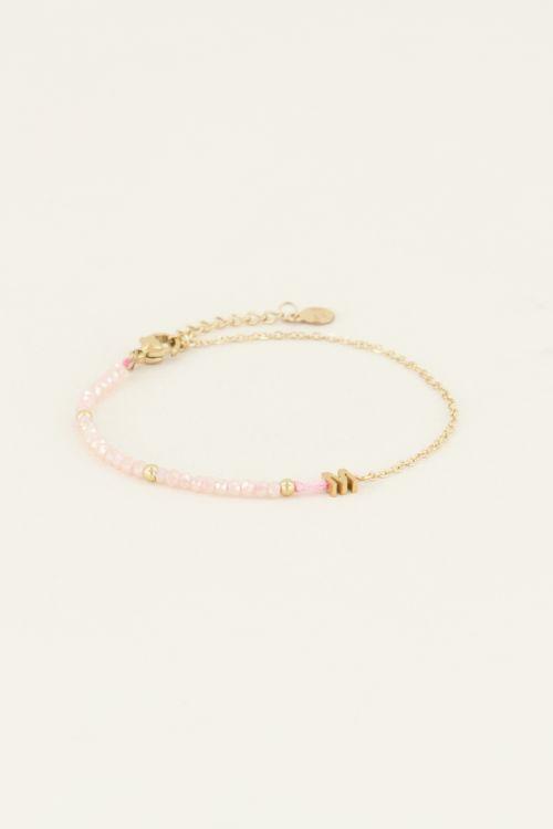 Roze Kralen Armband met initiaal