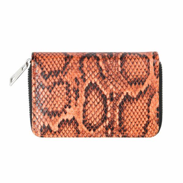 Kleine portemonnee slangenprint oranje