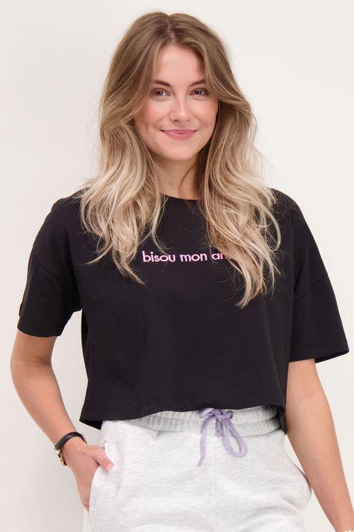 Crop T-shirt zwart bisou