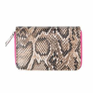 Kleine portemonnee slangenprint roze