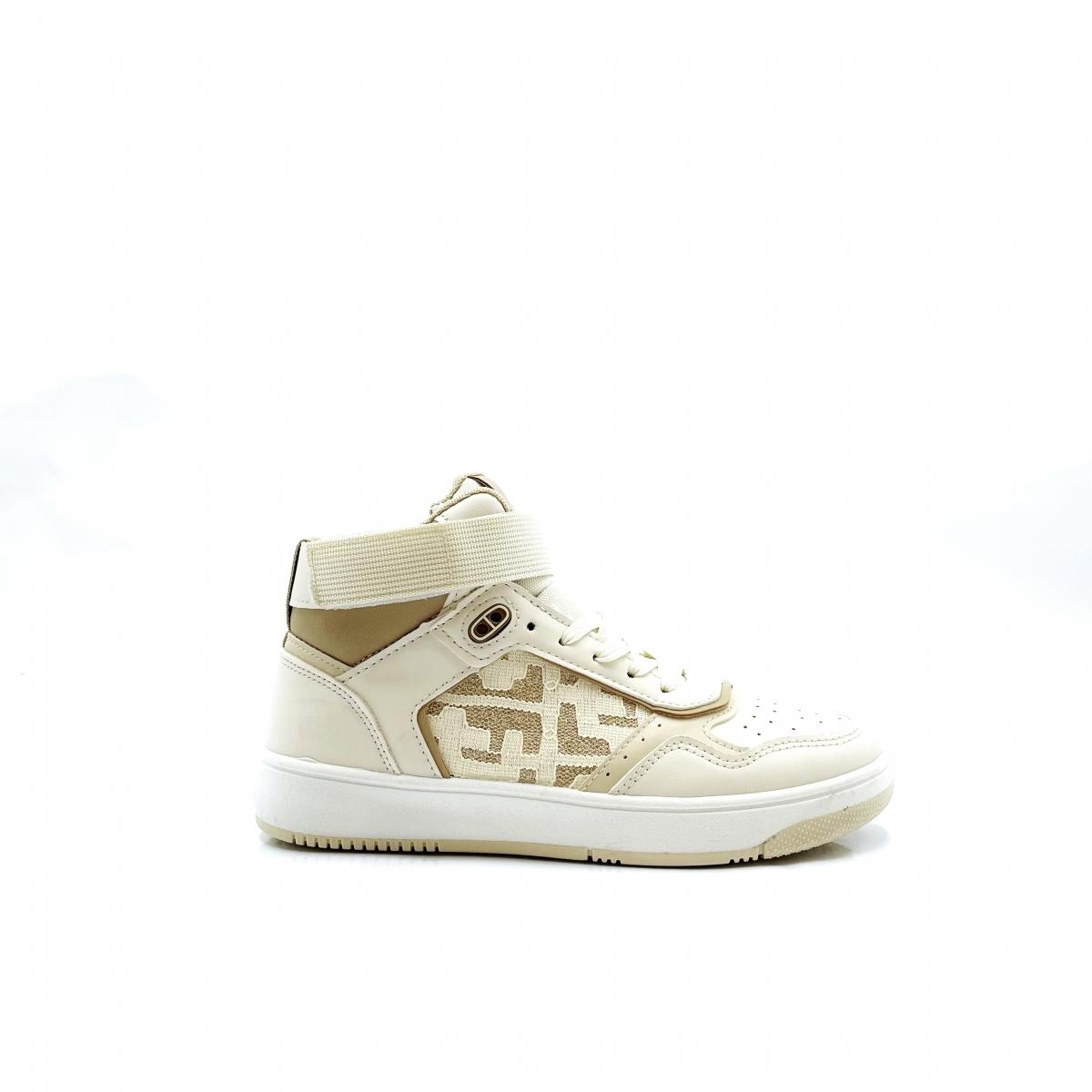 Hoge sneaker wit beige