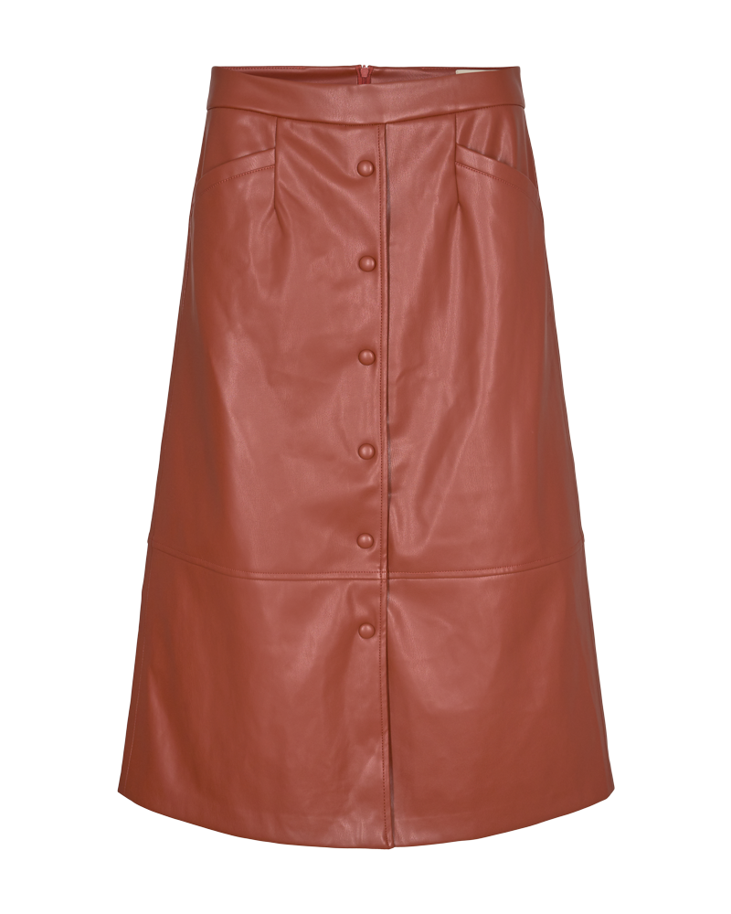 PU A-shape Skirt Brandy Brown