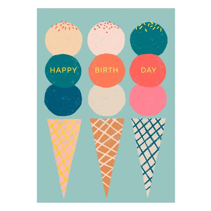 Ice Cream Happy Birthday Kaartje