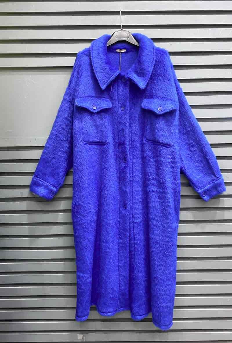 Fur Coat Lang Royal Blue