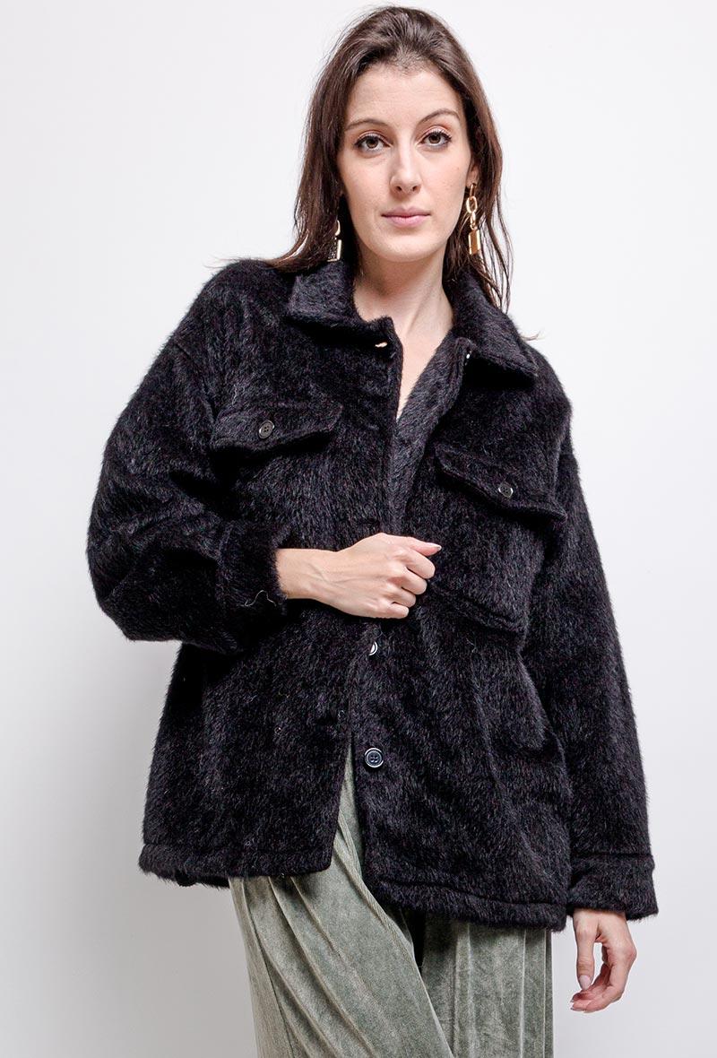 Fur Jacket kort Zwart