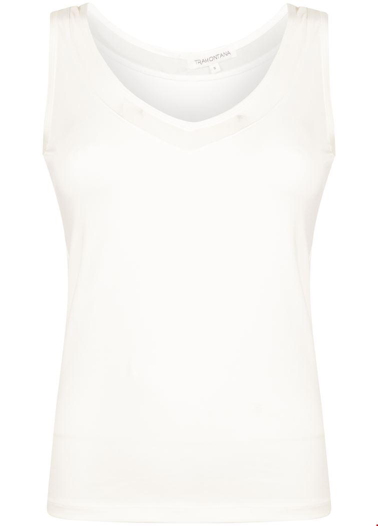 Basic V-neck Singlet Mesh Off White