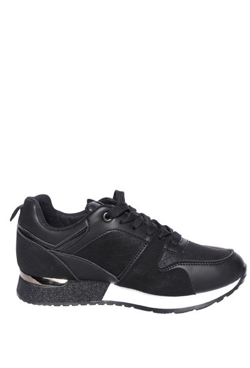 Sneaker glitterrand Zwart